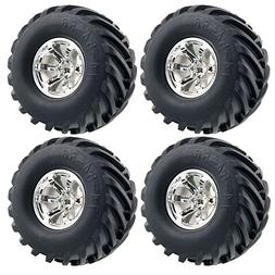LAFEINA 4PCS 1/10 RC Monster Truck Wheel and Tire Set, Rubbe