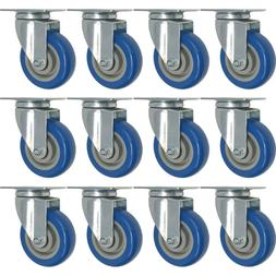 12 Pack 3 Inch Caster Wheels Swivel Plate On BLUE Polyuretha