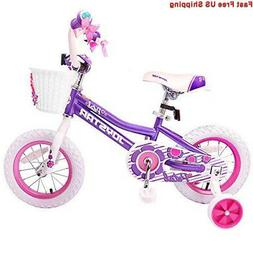 JOYSTAR 14 inch Girls Bike with Training Wheels, Basket & St