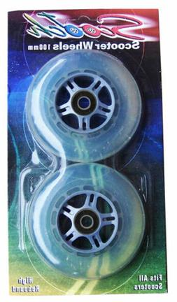 2 100mm CLEAR Replacement WHEELS for RAZOR SCOOTER