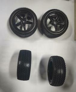 2 Pairs 85mm Universal RC Car Wheel Tires Kits Mount For 1/1