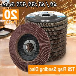 20Pcs 40 60 80 120 Grit Assorted Sanding Grinding Wheels 4.5