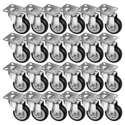 """24 Pack 2"""" Caster Wheels Swivel Plate Casters On Black Polyu"""