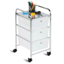 """29"""" Clear Chrome Plastic Steel 3 Drawer Office Rolling Stora"""
