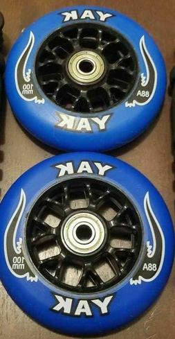 2x Blue 100mm Replacement Wheels + ABEC-7 Bearings for Razor