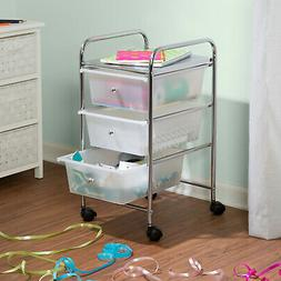 3-Drawer Chrome/Clear Rolling Cart Compact Steel W/ Plastic