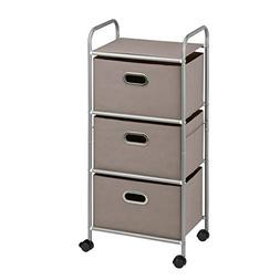 Honey-can-do 3-drawer Fabric Cart - 3 Drawer - Steel, Fabric