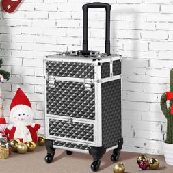 Rolling Aluminum Makeup Train Case Cosmetic Case Trolley Dra