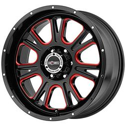 "Vision 399 Fury 20x10 5x139.7/5x5.5"" -25mm Black/Milled/Red"
