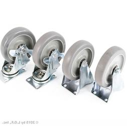 "4) 5"" Caster Wheels Heavy Duty Set 2 Swivel 2 Side Brake No"