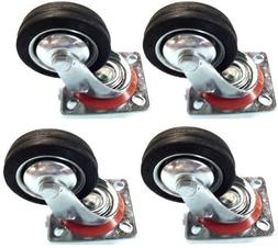 """4 Pack - 4"""" Swivel Caster Wheels Rubber Base with Top Plate"""