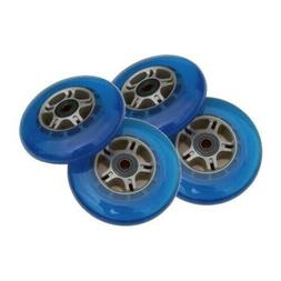 4 Blue 100mm Replacement Wheels + ABEC-7 Bearings for Razor