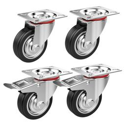 4 Pack 3 Inch Casters Wheels Swivel Plate Casters with Brake