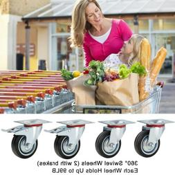 "4 Heavy Duty Caster Set 3"" Swivel Wheels 2 w/ Brake Non Skid"