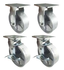"4 Heavy Duty Caster Set 4"" 5"" 6"" All Steel Wheels Rigid Swiv"