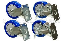"4 Heavy Duty Caster Set 4"" Wheels 4 Swivel 2 with Brake Non"