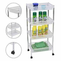 4 Layer Basket rolling Storage Cart W/Wheels for Home Office