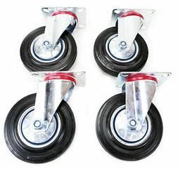 """4-PACK 4"""" Swivel Caster Wheels Rubber Base with Top Plate &"""