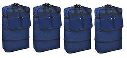 """4-Pack 40"""" Navy Rolling Wheeled Expandable Duffle Bag Spinne"""