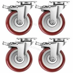 4 Pack 5 Inches Caster Wheels Locking Casters with Brake Swi