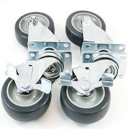 """Red Hound Auto 4 Plate Casters 4"""" Polyurethane Wheels All Sw"""