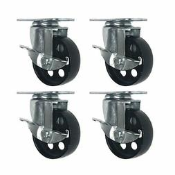 4 All Steel Swivel Plate Caster Wheels w Brake Lock Heavy Du