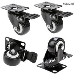 """4 x 2"""" Swivel Caster Wheels Rubber Base with Top Plate & Bea"""
