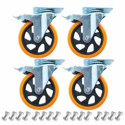 5 Inch Plate Casters Wheels 1800lbs Heavy Duty Casters with