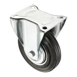 6-inch Rubber Caster Wheel, Rigid Non-Swivel Top Plate, 331