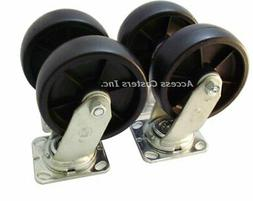 """6PHPRS-1 6"""" Toolbox Caster Set of 4, Polyolefin Wheels, 3000"""