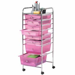 VonHaus Plastic Rolling Organizer Cart with 8 Drawer and Whe