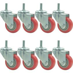 8 Pack 3 Inch Caster Wheels Swivel Plate with Stem on Red Po