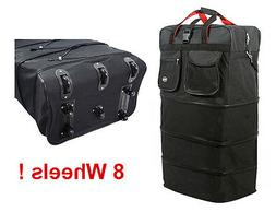"""8-Wheel 36"""" Black Rolling Expandable Duffle Bag Spinner Suit"""