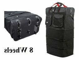 8-Wheel 36″ Black Rolling Expandable Duffle Bag Spinner Su