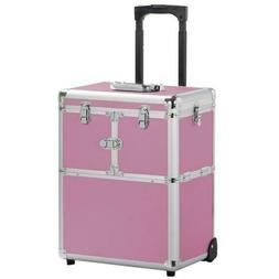Aluminum Rolling Makeup Train Case Pink Trolley Cosmetic Box