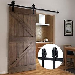 Bonnlo 6.6FT Big Wheel Sliding Barn Door Hardware Kit for Cl