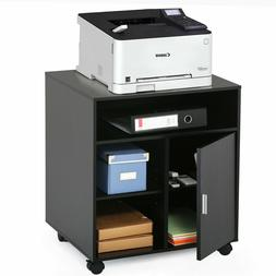 Black Wheels Printer Cart Rolling Stand Table with Storage f