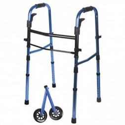 Blue Compact Folding Paddle Walker w/ Wheels - Best for Heig