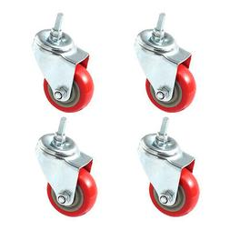 4 Pack 3 Inch Caster Wheels Swivel Plate with Stem On Red Po