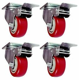 4 Pack Caster Wheels Swivel Plate Stem Red Polyurethane 880