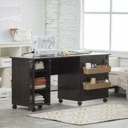 Craft Sewing Table Cart Shelves Drawer Workspace Rolling Whe