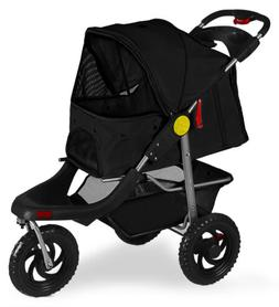 OxGord Deluxe 3-Wheels Foldable Pet Stroller - Black