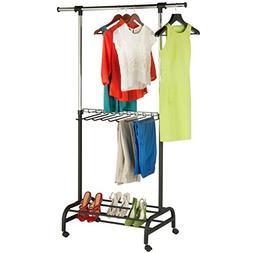 Honey-Can-Do Deluxe Adjustable Garment Rack with Built-in Pa