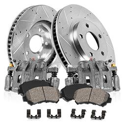 FRONT OE  Calipers +  Drilled/Slotted Rotors + Quiet Low Dus