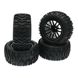 4-Pack Front/Rear 1:10 RC Rubber Tires Wheels Rim Tyre Set 1