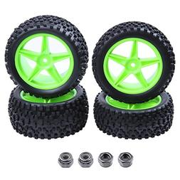 Hobbypark 4pcs Front & Rear Rubber Tires & Wheel Rims Sets F