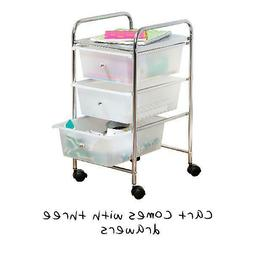 Honey Can Do Compact Steel 3-Drawer Rolling Cart, Chrome/Cle