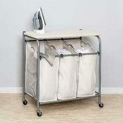 Honey Can Do Ironing Board and Laundry Sorter Combo, Beige