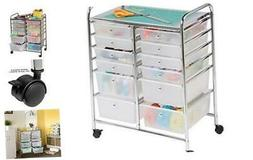 Honey-Can-Do Rolling Storage Cart and Organizer with 12 Plas