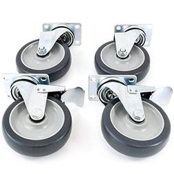 "Industrial Grade 5"" Caster Wheels - Heavy Duty Set of 4"